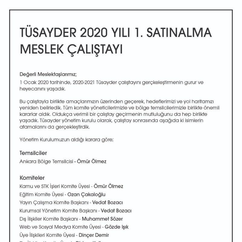 TÜSAYDER 2020 Yılı 1. Satınalma Meslek Çalıştayı